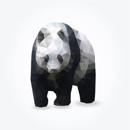 ジャイアント パンダ、ベクトル三角形デザインのモダンな多角形の図