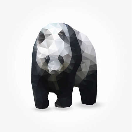 rare: Modern polygon illustration of giant panda, vector triangle design