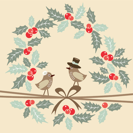Cute retro christmas greeting card with birds and holly wreath, vector illustration background