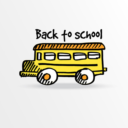 Back to school, vector background with yellow hand drawn school bus