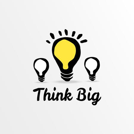 Think big light bulb sketch, vector illustration  Illustration