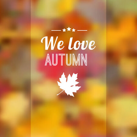 Autumn fall blurred background with maple leaves, vector illustration