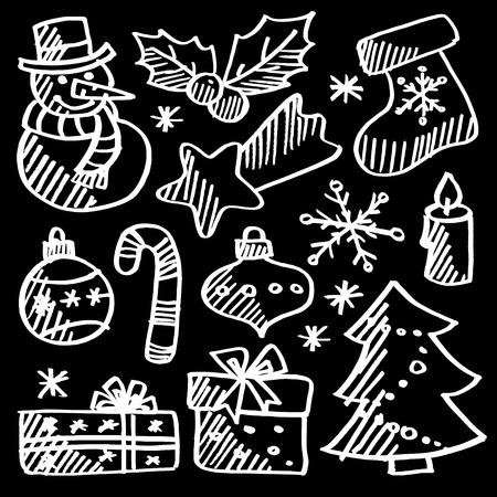 Christmas doodle icons set, chalk sketches on blackboard, vector illustration Illustration