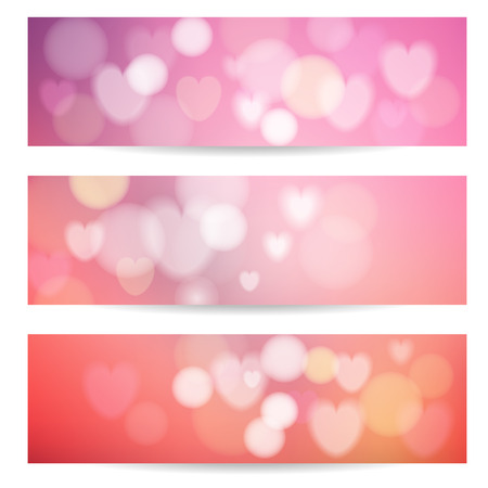 Set of abstract banners with lights, hearts and bokeh effect, vector illustration backgrounds