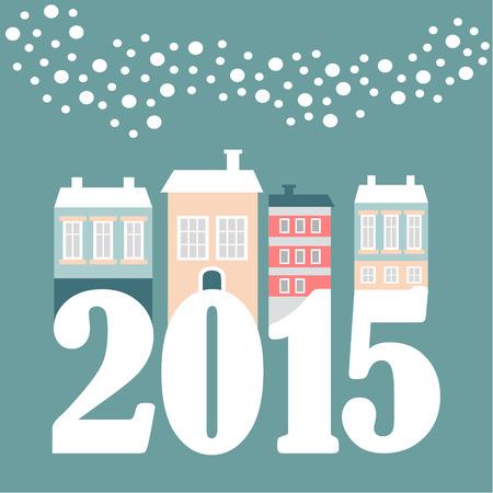 Leuke kerst nieuwe jaar 2015 kaart met winter huizen, vallende sneeuwvlokken, vector illustratie, platte ontwerp Stock Illustratie