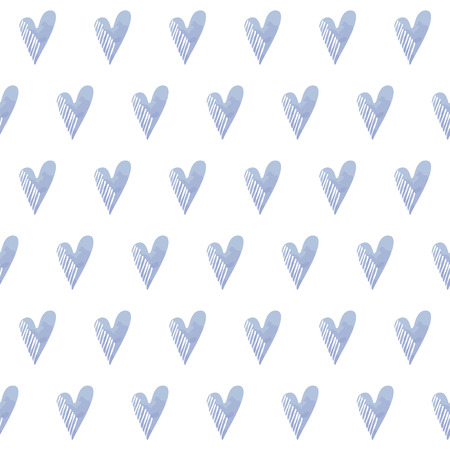 Romantic seamless pattern with blue doodle hearts, vector illustration background