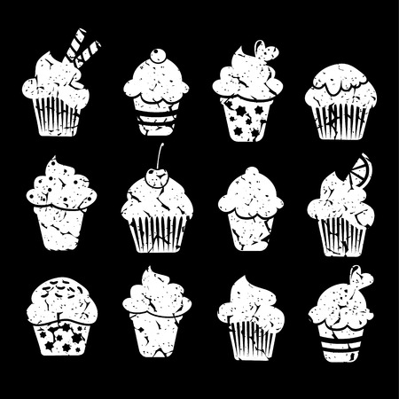 Retro set of cupcakes and muffins icons, chalk drawings,  vector illustrations isolated on black  background Illustration