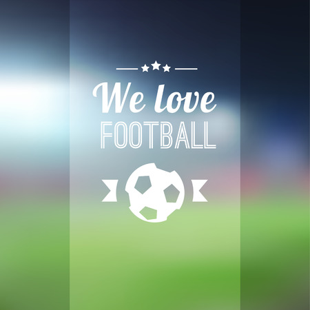 Blurred soccer football background with stadium, vector illustration Vector