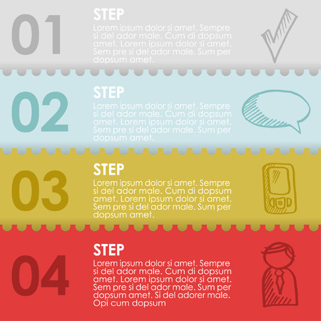 Set of paper sheets with infographics steps and doodle icons, vector illustration background