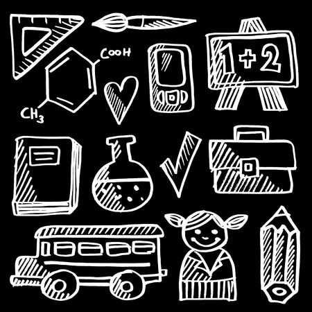 Back to school doodle icons set, chalk sketches on blackboard, vector illustration