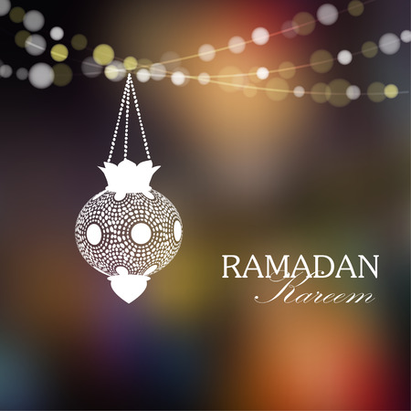 Illuminated arabic lamp, lantern with lights, vector illustration background for muslim community holy month Ramadan Kareem Vector