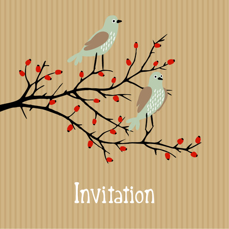 Cute vector background with birds on wild rose bush, birthday, wedding card, invitation, autumn fall design