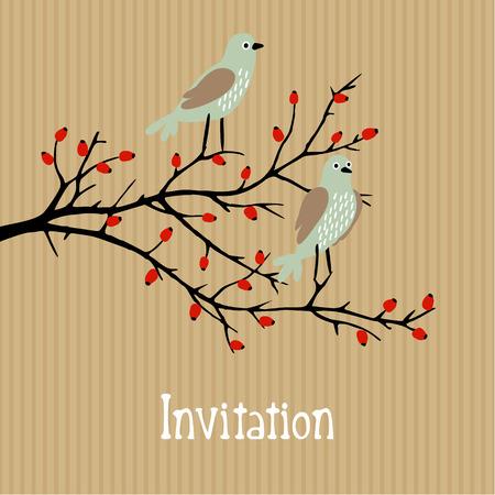 Cute vector background with birds on wild rose bush, birthday, wedding card, invitation, autumn fall design