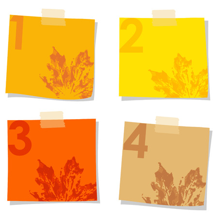 Set of stick notes papers with watercolor prints of leaves, vector illustration isolated on white background Vector