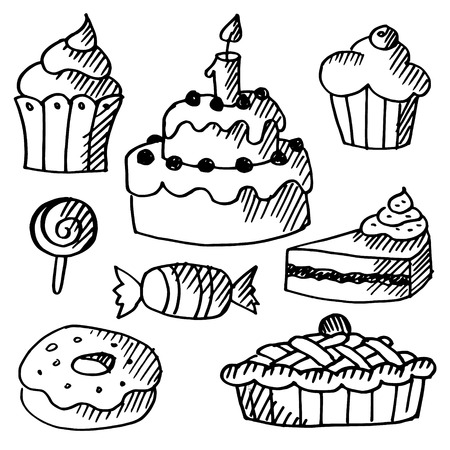 Set of various sweets, cakes and cupcakes, black isolated doodle sketches, vector illustrations Illustration