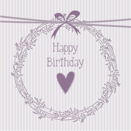 Romantic birthday card with lavender wreath, invitation, vector background Illustration