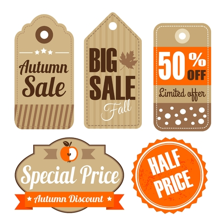 Retro set of autumn fall vintage sale and quality labels, cardboard tags, vector illustration