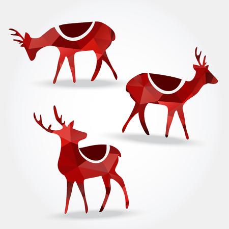 Set of polygonal reindeers, christmas design, vector illustration Illustration