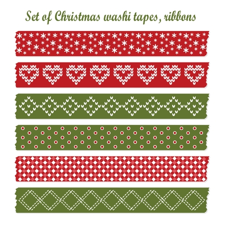 Set of vintage christmas washi tapes, ribbons, vector elements, cute design patterns Illustration