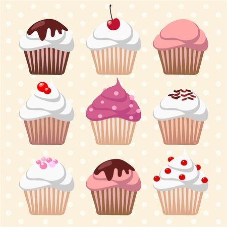 異なるカップケーキやマフィン、アイコン、ベクトル イラスト背景のセット