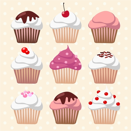 cupcakes: Set of different cupcakes and muffins, icons, vector illustration background
