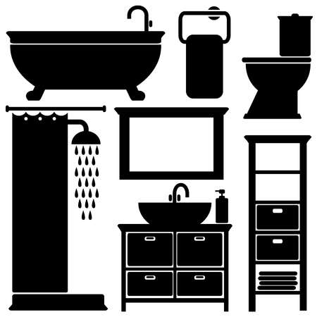 Bathroom toilet black icons set, silhouettes on white background, vector illustration Vector