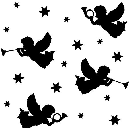 angels: Christmas seamless pattern with silhouettes of angels, trumpets and stars, black icons, vector illustration