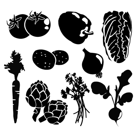 Black isolated vegetables silhouettes icons on white background, vector vegetarian set