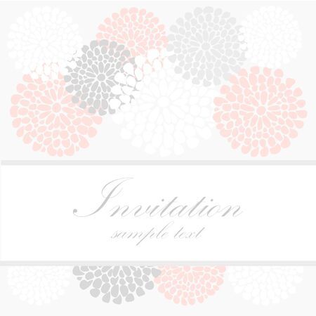 Wedding birthday card or invitation with abstract floral background, greeting postcard, vector illustration Vector