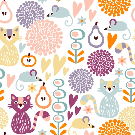 Cute colorful cartoon seamless floral vector pattern with animals cat and mouse