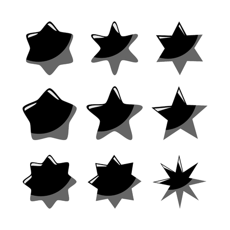 Set of black vector stars, isolated icons Vector