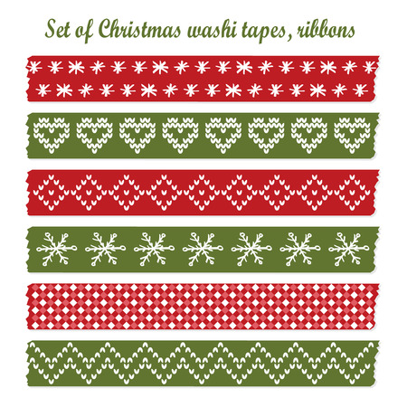 Set of vintage christmas washi tapes, ribbons, vector elements, cute design patterns Vector