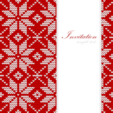 Winter knitted christmas card, nordic pattern, vector background illustration
