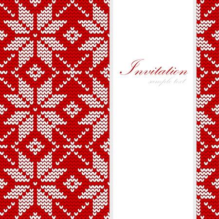 Zimní pletené vánoční přání, nordic vzor, vektorové ilustrace pozadí Ilustrace