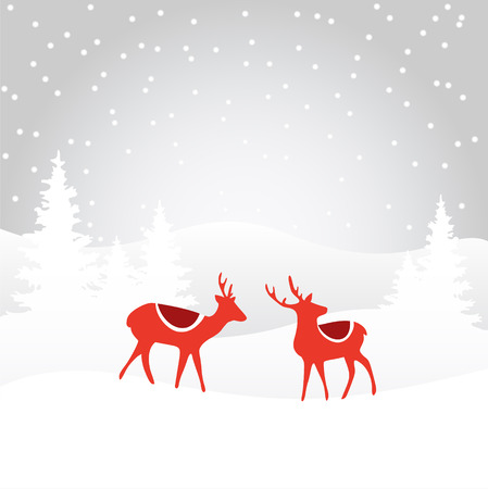Retro christmas card invitation with reindeer in the winter snowy forest, vector illustration