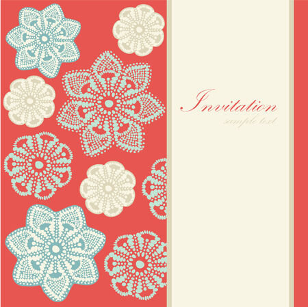 Christmas vintage card, invitation with abstract lace snowflakes, vector illustration background