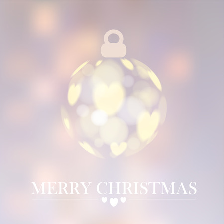 Modern christmas background with christmas ball and bokeh lights and hearts , vector illustration