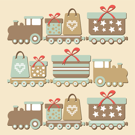 Cute vintage christmas steam train with gift boxes, vector illustration card background