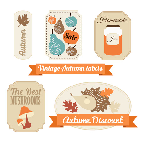 hand jam: Set of various vintage autumn fall labels, tags, stickers, vector illustrations Illustration