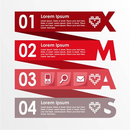 Christmas infographics options steps banner, business concept, modern flat design, vector illustration background
