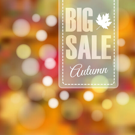 Autumn fall sale poster with blurred background and bokeh lights, illustration Illustration