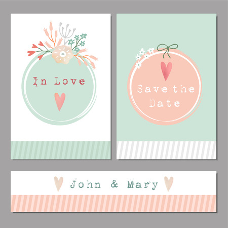 baby announcement card: Set of floral romantic wedding
