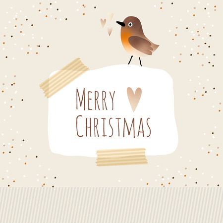 Cute christmas greeting card with bird Illustration