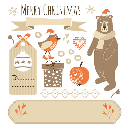 Set of cute christmas graphic elements