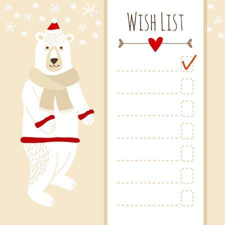 winter wish: Cute christmas card or baby shower wish list with polar bear