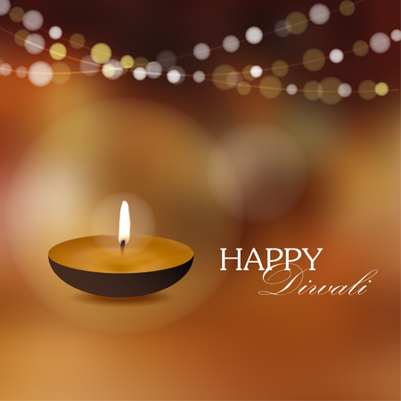 Diwali greeting card invitation with diya oil lamp Vetores