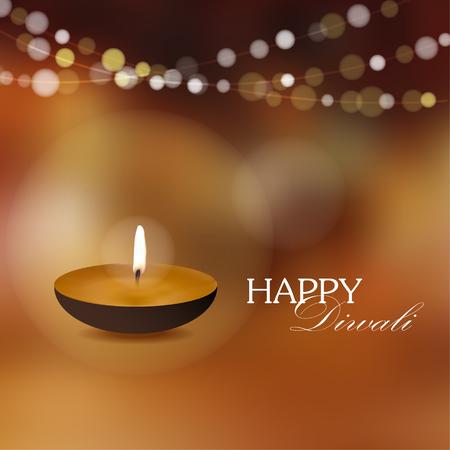 Diwali greeting card invitation with diya oil lamp