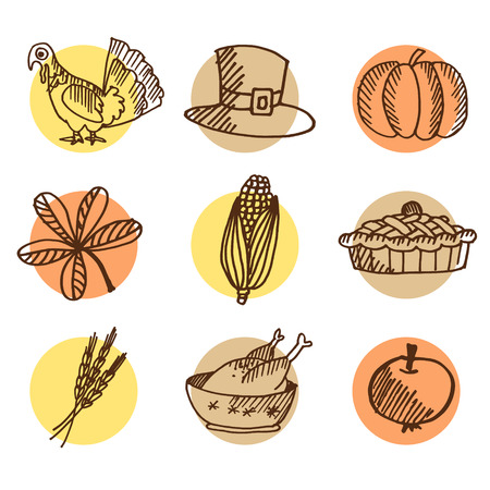 Set of thanksgiving hand drawn icons Illustration
