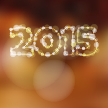 Happy new year greeting card with 2015 glitter lights,vector illustration background