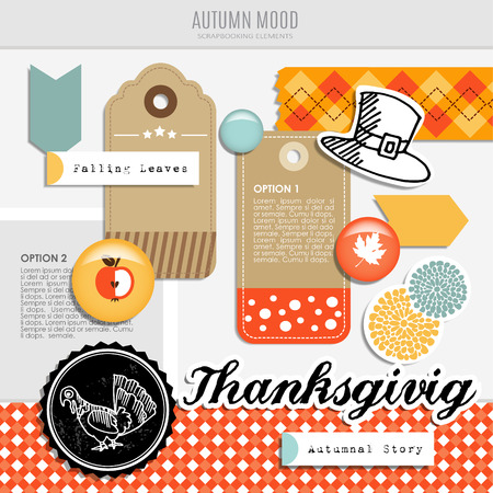 Set of vector autumn fall scrapbooking and web elements, different tags, stickers, buttons and patterns
